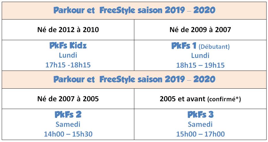 Horaires Parkour 2019
