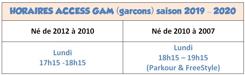 Horaires Access GAM 2019