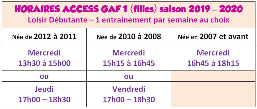 Horaires Access GAF1 2019