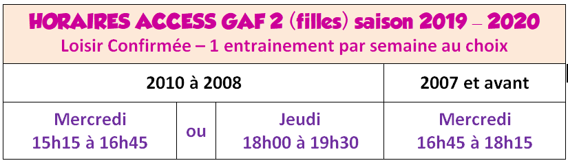 Horaires Access GAF2 2019
