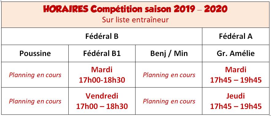 Horaires Compétition 2019